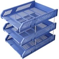 得力(deli) DL9209 三层文件框 三层文件盘文件座文件筐资料架 可叠加 (蓝色)文件盘